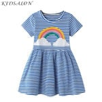 Baby Girl  Vestidos Striped Cotton Kids Unicorn Party Dresses