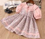 Floral Girls Dresses Peter Pan Collar Cotton