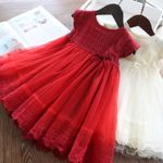 Red Girls Dress For Kids Summer Princess Dress Lace Embroidery