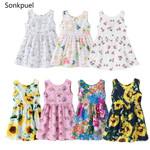 Flower Print Dresses Clothes Kids Summer Princess Dress