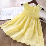 Children'S Cotton Embroidered Hollow Dress Ruffled Round Neck