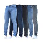 Jeans Men Pure Color Denim Cotton Vintage Wash Hip Hop pencil pants
