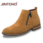 Men Suede Leather Boots Winter Mens Shoes Pointed Toe Men Ankle Boots