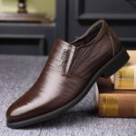 Leather Cowhide Leather Shoes Men Comfortable Low-top British Casual