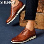 Men Shoes Carved Flat Casual Shoes Leather Soft