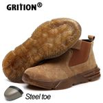 Mens Boots Safety Shoes Cow Suede Soft Non-slip