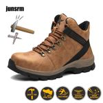 Leather safety boots protective feet construction outdoor work shoes