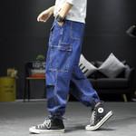 Men's Fashion Drawstring Jean Pants Spring Muti-pockets