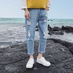 Hole Ripped Jeans Men Loose Straight High Street Frayed Casual Pants