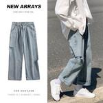Mens Hole Hip Hop Blue Jeans Vintage Straight Loose Harem