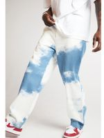 Mens Tie-dyed Denim Straight-fit Jean  Pant Washed Stretch