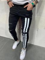 Fashion Streetwear Men Jeans Vintage Destroyed Ripped Jeans