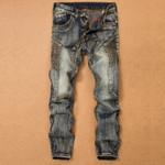 Men'S Jeans Pants Splicing Jean Denim Trousers Biker Straight