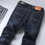 Men's Classic Blue Black Slim-fit Jeans Business Cotton