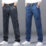 elastic jeans men's high waist straight tube oversized