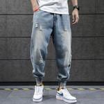 Hip Hop Harem Jeans Pants Men Loose Joggers Denim Casual