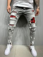 Men's Slim-Fit Ripped Jeans Painted Jeans