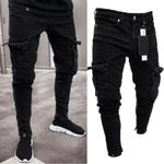 Men Biker Ripped Long Denim Trousers Skinny Jeans Destroyed Stretchy