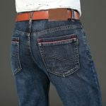 Men's styles Classic Jeans Elastic Stretch-fit Thin Jeans Business