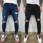 Men Jeans  Cool Skinny Knee Hole Ripped Stretch Slim