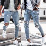 Streetwear Knee Ripped Skinny Jeans for Men Hip Hop Fashion