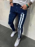Jeans Men Skinny Striped Zipper Denim Hole Wash Vintage