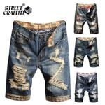 Denim Shorts Men's Clothing Beach Ripped Jeans Denim