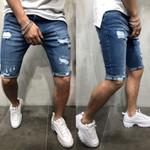Mens Denim Chino Shorts Super STRETCH Skinny Slim