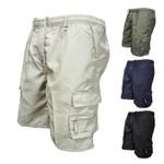 Solid Color Multi-pockets Drawstring Baggy Cargo Shorts