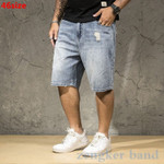 Men's denim shorts light men's summer large size
