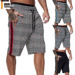 Fashion Men Shorts Plaid Elastic Waist Fitness Casual Jogger
