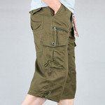 Knee Length Cargo Shorts Men's Summer Casual Cotton Multi Pockets