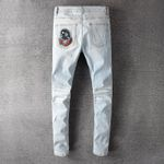 Jeans Men's Bear Embroidery Patchwork Streetwear Holes Ripped Stretch