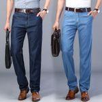 Men's Thin Tencel Jeans Business Casual Elastic Comfort Straight