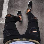 Fashion Mens Ripped Skinny Jeans Destroyed Slim Fit Denim