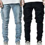 Men Solid Skinny Pockets Denim Cargo Combat Pants Jeans