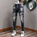 Fashion Streetwear Men Jeans Slim Fit Elastic Destroyed Ripped