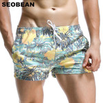 Men Board Shorts Coconut Leaf Pattern Sea Beach Style