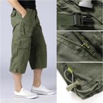 Men's Casual Cotton Cargo Shorts Overalls Long Length Multi Pocket
