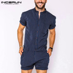 Striped Men Rompers Breathable Stand Collar Short Sleeve Joggers