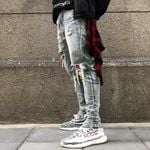 Men's Skinny Jeans Ripped Grid Stretch Slim Denim