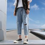 Ankle-Length Pants Slim Ripped Men's Jeans Fashion