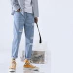 Light Blue Skinny Jeans Men Streetwear Destroyed Ripped Jeans