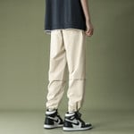 Men Loose Drawstring Trousers Fashion Casual Straight