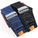 Men's Business Washed Jeans in Soft Cotton Slim Fit