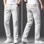 Men's Light Grey Stretch Slim Jeans Classic Style Fashion