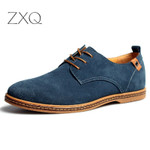 fashion men casual shoes flats lace up male suede oxfords