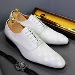 Italian Mens Oxford Shoes Fashion Plaid Print Genuine Leather