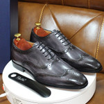 Handmade Mens Wingtip Oxford Shoes Grey Genuine Leather