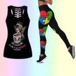 Autism sugar skull lady it's okay to be different yoga set 3d t shirt hoodie sweater